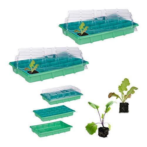 Relaxdays 2 x Zimmergewächshaus je 24 Pflanzen, Deckel, Mini Gewächshaus, Fensterbank, Balkon, Anzuchtschale 38 x 24,5 cm, grün