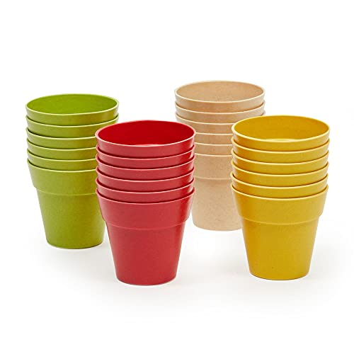 Juvale Pacco da 24 Vasi di Plastica per Fiori - Mini Vivaio di Vasi di Plastica per Piantine - 4 Colori Assortiti, 6,4 cm x 5,8 cm