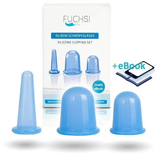 3 STÜCK - FUCHSI Schröpfgläser aus medizinischem Silikon | für Körper und Gesicht inkl. Aufbewahrungsbeutel | Schröpfen gegen Cellulite, Falten und Verspannungen |...