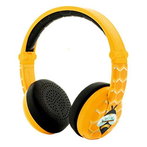 ONANOFF Casque Audio Bluetooth pour Enfant - BuddyPhones Wave | Limiteur de Volume à 75, 85 ou 94 DB | Pliable & Imperméable | Autonomie de 24 Heures | Cble Optionnel pour Le Partage Audio | Jaune