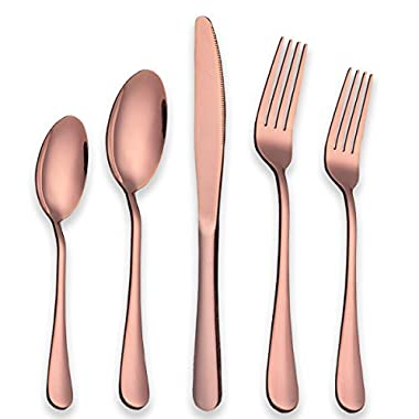 Berglander Stainless Steel Copper Color Flatware Set Rose Gold, 20 Piece Rose Gold Plated Stainless Steel Silverware Set Cutlery Sets, Service for 4 (20 piece)