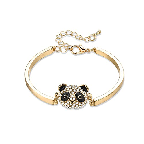 N/A Joyas para Hombres y Mujeres Pulsera en Forma de Panda con Diamantes de imitación con Incrustaciones de joyería de Moda Aniversario de Bodas día de la Madre Regalo de cumpleaños de Navidad