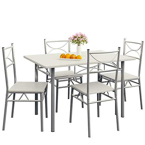 Deuba 5 tlg. Sitzgruppe Paul Weiß | Esstisch mit 4 Stühlen | Für Esszimmer Küche und Balkon - Essgruppe Tisch Stuhl Set