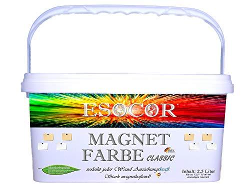 2,5 Liter ESOCOR MAGNETFARBE CLASSIC + 2 Pin Magnete – sehr allergikerfreundlich – stark magnethaftend – Ideal für sensible Innenräume