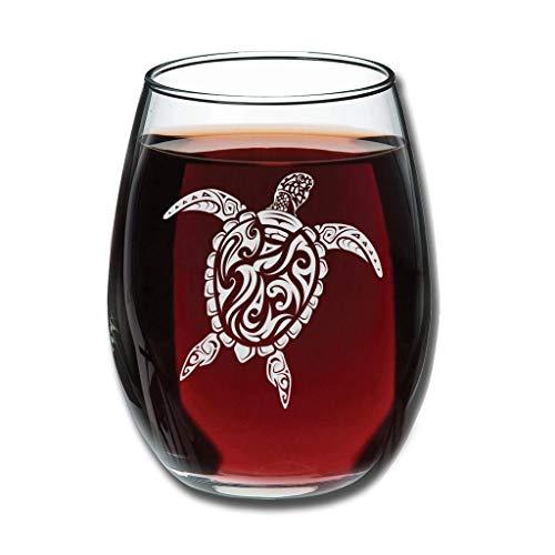 Turtle Tattoo Küche Perfektion weiß klar Mode stemless Weinglas Trinken für Wasser schönes Geschenk für Liebhaber von Weinglas Personalisierung weiß 350ml