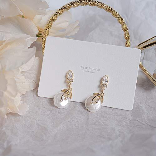 Pendientes de perlas bohemias elegantes para mujer, de lujo, con circonita AAA, de oro auténtico de 14 quilates, para accesorios de novia (color de gema: aretes de perlas)