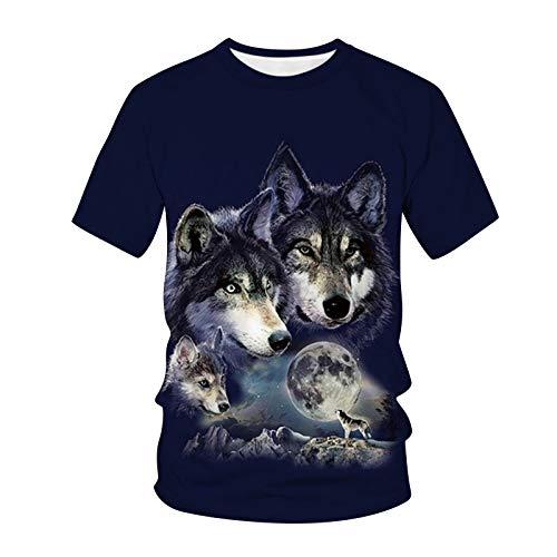 メンズ Tシャツ 半袖 創意デザイン おもしろ 3Dプリント クルーネック カジュアル 男女兼用 トップス 大きいサイズ インナーシャツ 定番 ベーシック ショットカットソー 半袖tシャツ スキンフィットシャツ コーディネート服 (狼/L)