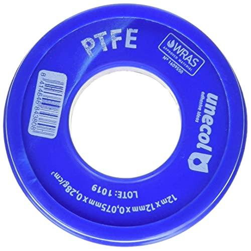 Unecol 8438 Cinta (PTFE, rollo), Blanco, 12 m x 12 mm x 0,075 mm, 0,28 g/cm³