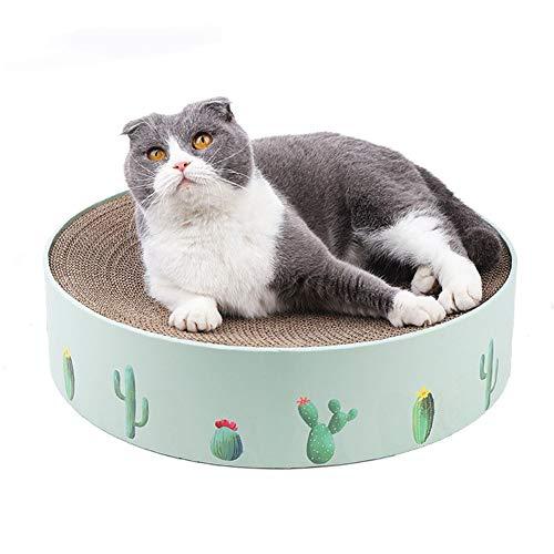 Rond Cat Scratch Basin, Duurzaam Krabpalen Stoel, met catnip, sterke en stabiele, Bescherming van meubelen, Green & Pink,Green 36 * 36 * 8cm