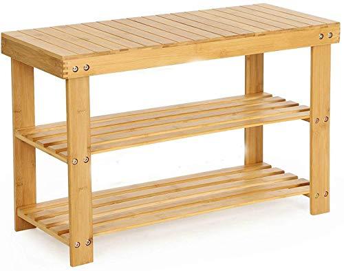 Gunolye Schuhregal,Schuhschrank mit Sitzbank,Bambus Schuhschrank,Schuhbank Badregal 3 Ablage- 70 x 45 x 28 cm