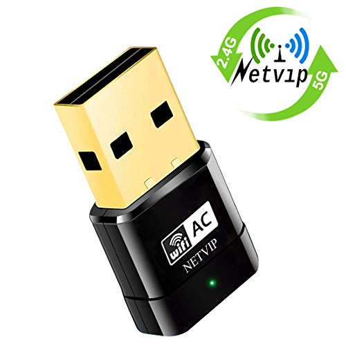 NETVIP Adattatore WiFi USB 600Mbps Dual Band(5G/433Mbps + 2.4G/150Mbps) Dongle WiFi Supporta con USB 2.0 per Laptop/PC Compatibile con Window XP/7/8/8.1/10/ Vista/Mac OS