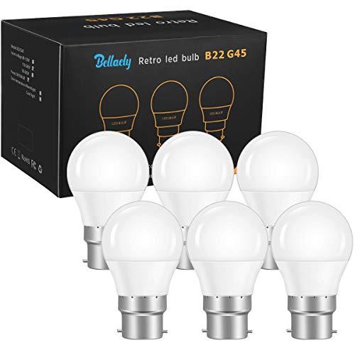 Lampadine LED B22 a Sfera 5W Equivalenti a 40W, Lampadina a LED Luce Bianca Fredda 6500k 500Lm, B22 Lampadine Baionetta G45 Mini Globo Risparmio Energetico, Non Dimmerabile - Pacco da 6
