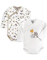 Jacky Body para bebé, pack de 2 unidades, de manga larga, 100% algodón (certificado ÖkoTex, lavable a máquina), suave bodis con botones de presión, color blanco y beige