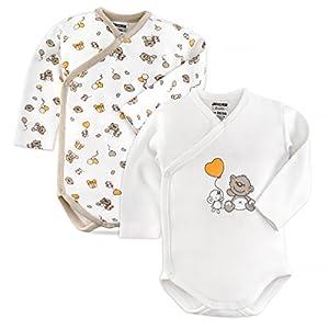 Jacky - Bodies para bebé de manga larga - 2 Ud. - 100% algodón / Oeko-Tex Standard 100 / Unisex / Color: beige / blanco con ositos. Talla 50/56