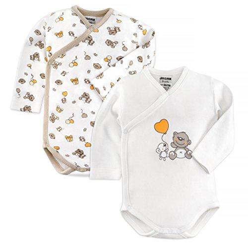 Jacky 2er Set Baby Body/Langarm Wickelbody/Unisex / 100% Baumwolle/Weiß/Beige/Öko-Tex schadstoffgeprüft (50/56)