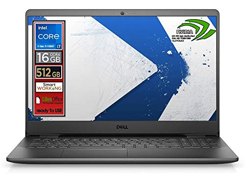 Notebook Dell, Cpu Intel i7-1165G7 di 11 Gen. 4 core, Display 15,6  led FullHd, SSD nvme pci da 512 Gb, 16Gb DDR4, Win10 Pro, Svga mx 330 2gb dedicata, wi-fi, 4usb, lan, Pronto All uso, Gar Italia