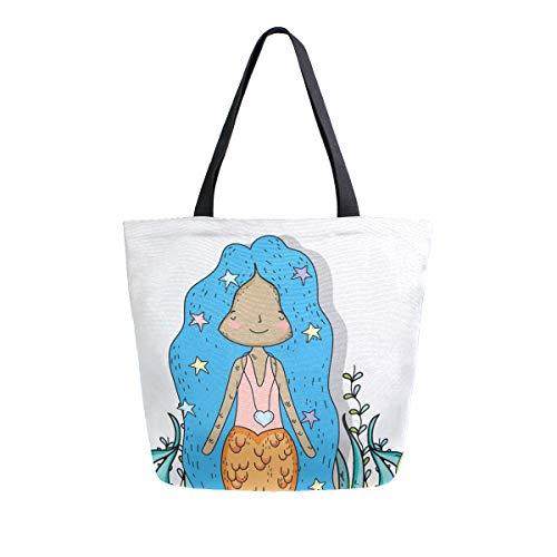 Bolsa de lona de algas marinas de sirena para mujeres y niñas, bolsas de compras reutilizables