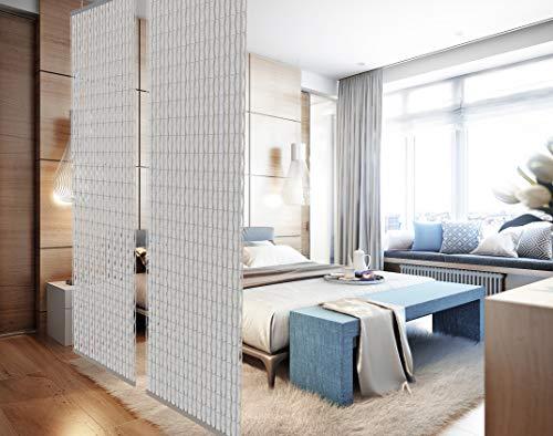 YourCasa - Raumteiler hängend [Designelement] Blickfang und Dekoration in jedem Raum | Trennwand ist Lichtdurchlässig - Raumtrenner 120 x 240 cm- Paravent bietet Sichtschutz - Multifunktional (Weiss)