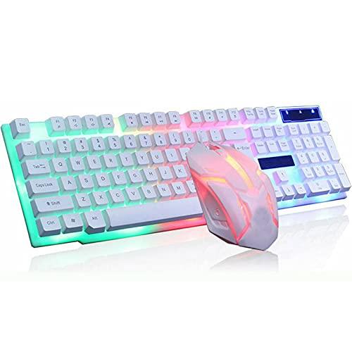 DSWF Conjunto de Teclado y ratón con Cable, combinación de Teclado de sensación mecánico retroiluminada Adecuada para Jugadores de Escritorio y Juegos de computadora Port