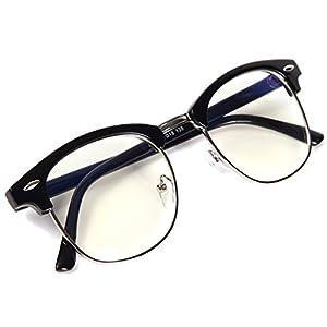 [FREESE] 超軽量 伊達メガネ ブルーライトカット PCメガネ メンズ クラシック ファッション伊達眼鏡 UVカット ウェリントン メンズ 【福岡発のアイウェアブランド FREESE】(ブラックシルバー)