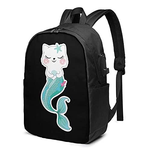 XCNGG Cat Mermaid Business Laptop School Bookbag Mochila de Viaje con Puerto de Carga USB y Puerto para Auriculares de 17 Pulgadas