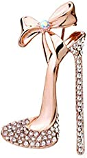 Meoliny Fashion Elegant Rhinestones Crystal High Heel Shoes Brooches Pin Clothes Decors Jewelry Gift for Women Girls