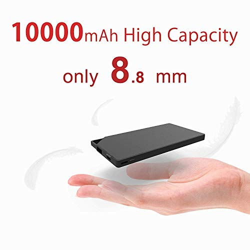 TNTOR 10000mAh Tragbare Power Bank, Ultra dünn Mini Externe Akkus für Android iPhone SmartWatch Kamera Selfie Lichter