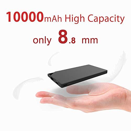 TNTOR 10000mAh Tragbare Power Bank, Ultra dünn Mini Externe Akkus für Android iPhone SmartWatch Kamera Selfie Lichter