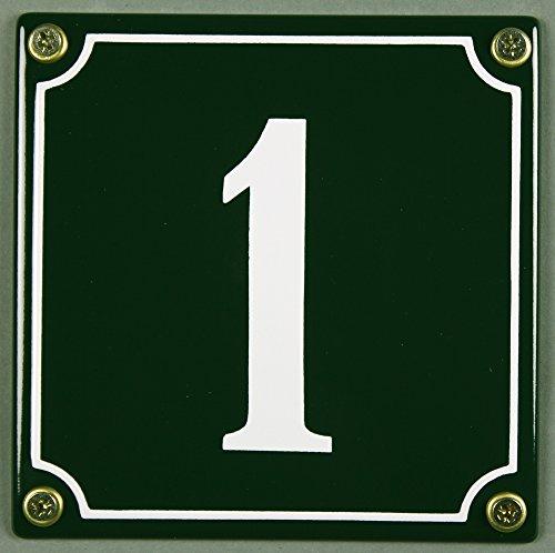 Emaille Hausnummernschild - Wählen Sie Ihre Nummer - Zahlen 1 bis 30 verfügbar - grün/weiß 12x12 cm und 12x14cm - sofort lieferbar! Hausnummer Schild wetterfest und lichtecht (1 grün/weiß 12x12cm)