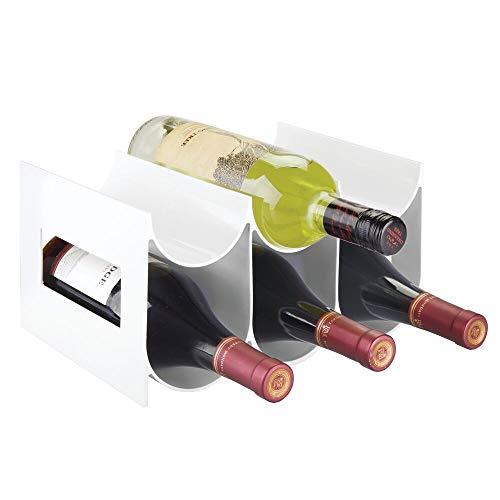 mDesign Práctico estante para botellas de vino – Botelleros para vino y otras bebidas para guardar hasta 6 unidades – Vinoteca de plástico de pie – blanco