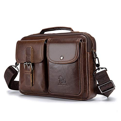 UBaymax Leder Schultertasche Herren, Kleine echt Leder Wasserdicht Umhängetasche Handtasche Ledertasche, Vintage Business Messenger Satchel Bag, Braun