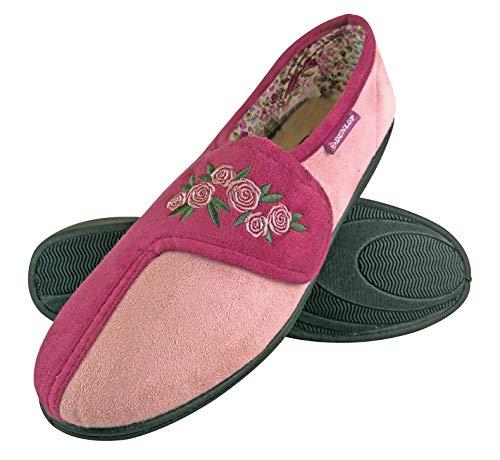 DUNLOP - Mujer Pantuflas Ortopedicas Zapatillas de Estar Ajustables por Casa con Velcro (39 EU, Dusky Pink)