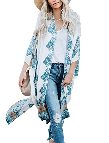 Women's Beach Kimono Jacket Sheer Cardigan Wide Bell Sleeve Sheer Open Floral Shirt Wrap Top (White, 2XL)