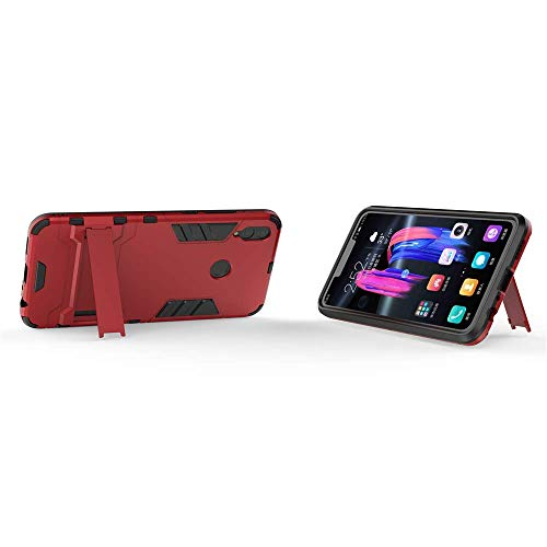 Huawei Honor 8X Hülle, MHHQ Hybrid 2in1 TPU+PC Schutzhülle Rugged Armor Case Cover Dual Layer Bumper Backcover mit Ständer für Huawei Honor 8X -Red - 4