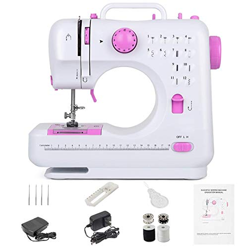 Mini Sewing Machine Portable Electric Crafting Mending Machine with 12 Built-in Stitches Double...