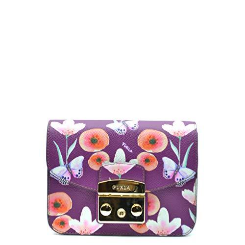 Furla Metropolis Mini Umhängetasche aus violettem Leder mit Blumen und Schmetterlingen