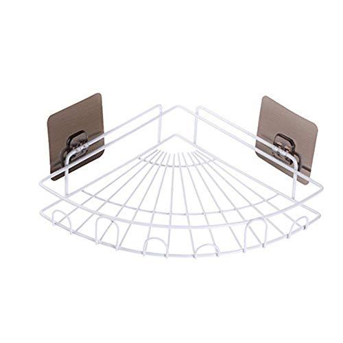 IUYJVR Étagère de Douche pour étagères d'angle de Salle de Bain sans perçage - Étagères murales Triangle pour Panier de Rangement pour ustensiles de Cuisine, Blanc