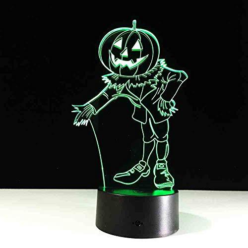 BJDKF Halloween kostuum pompoen 3D nachtlampje visueel LED USB bureau tafellamp voor hoofdsfeer lamp baby slaap verlichting