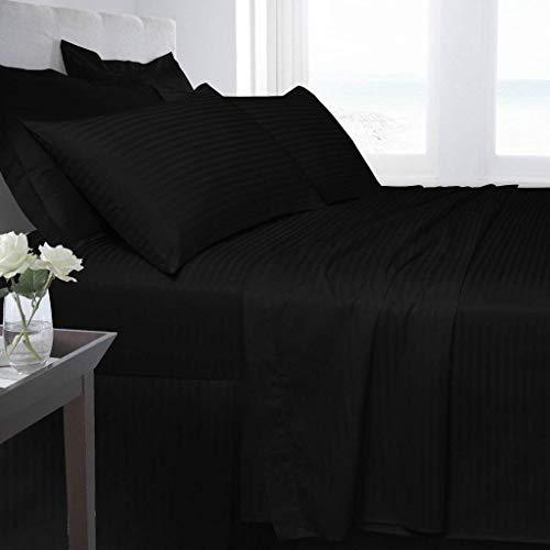 R&Z 100% Egyption Cotton 250 Thread Count Saten Stripe Duvet Cover Set (Black, Double)