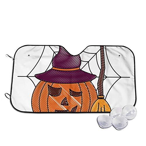 Rterss Halloween pompoen met hoed en bezem aangepaste voorruit zon schaduw vizier voorruit glas voorkomen de auto van verwarming tot binnen