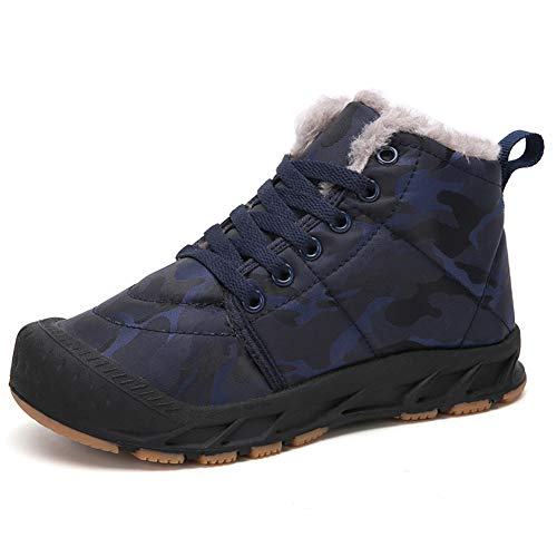 Gaatpot Unisex Niños Botas de Nieve Zapatos de Invierno Moda Botines Calzado Piel sintética Termica Además Otoño Boots Azul 37EU