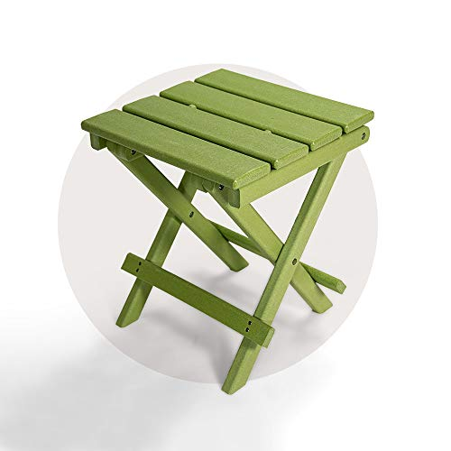 Resin TEAK Folding Outdoor Side Table   Fully Assembled   Weather Resistant, Patio Side Table for Small Spaces Outside (Green)