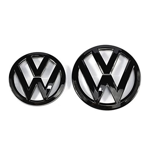 DONGSHENG 135 mm Gloss Black Front Brach Badge + 110mm Gloss Black Tronco Transporte Tapa Emblema Logotipo Ajuste para VW Volkswagen Golf MK7 Emblemas