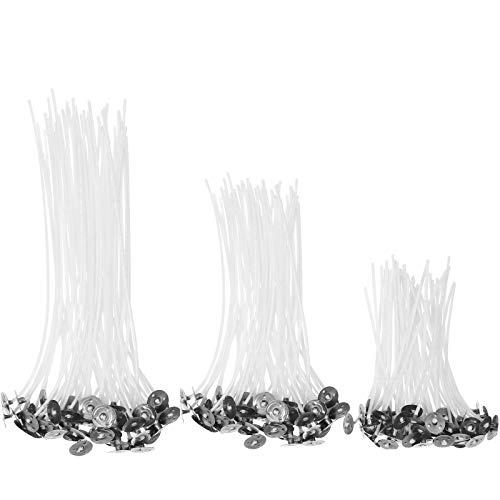 Mecha para velas, 150 Piezas pre Encerada Mecha de Vela de Algodón Natural Con 1 Soporte para Mecha de Acero Inoxidable para DIY la Fabricación de Velas(9 cm,10 cm,15 cm).