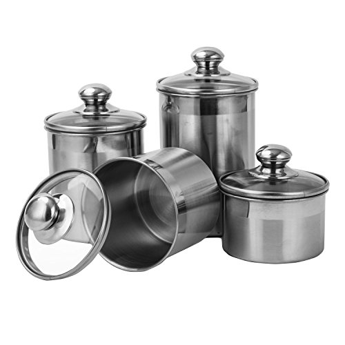 Vencer 4 Piece 304 Stainless Steel Canister Set with Glass Lids,Tea Coffee Sugar Canister for Kitchen and Home