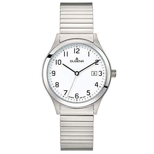 DUGENA Herren-Armbanduhr Bari, Quarz, Edelstahlgehäuse, Mineralglas, Edelstahl-Zugband, 5 bar (Silber/weiß)