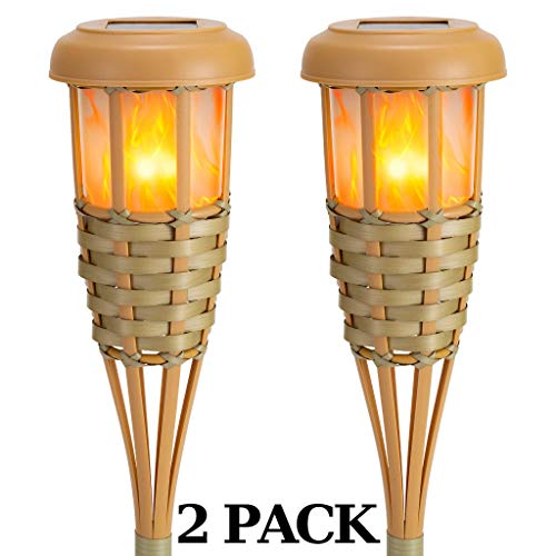 Flickering Flames Torch Solar Lights Handmade Bamboo Outside Flame Lighting Waterproof for Path, Garden, Outdoor Decoration