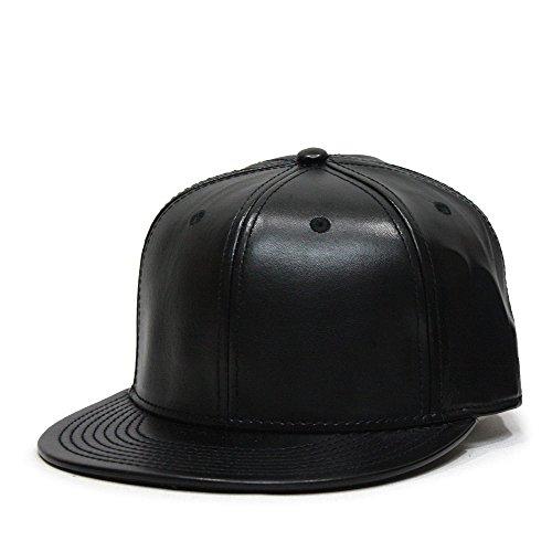 Vintage Year Faux Leather Flat Brim Adjustable Strapback Baseball Cap (Black)