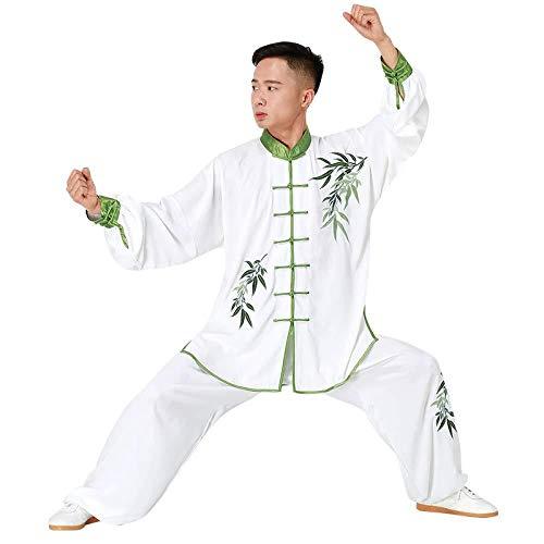 ANXWA Ropa De Taijiquan Práctica Uniformes Tradicionales Chinos De Tai Chi Kung Fu Uniformes De Traje Unisex Kimono,Green-XXXL