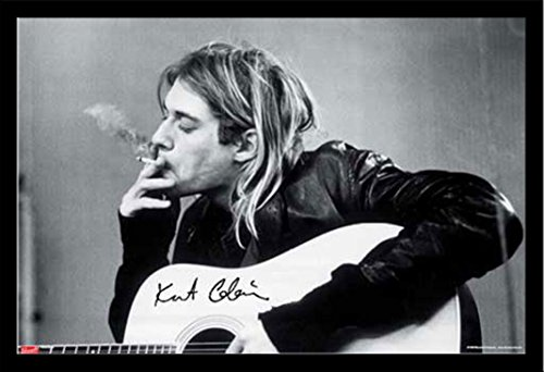 Cobain, Kurt - Smoking - Musikposter Kurt Cobain Alternative - Grösse 91,5x61 cm + Wechselrahmen, Shinsuke® Maxi MDF schwarz, Acryl-Scheibe